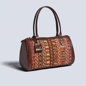 Handwoven Kilim Genuine Leather Brown Handbag