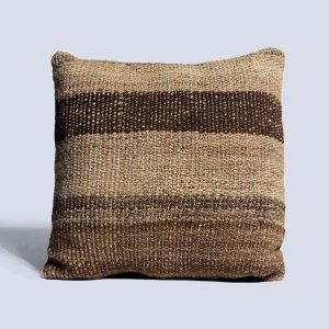 Handwoven Vintage Kilim Khaki Brown Square Cushion