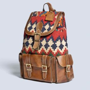 Handwoven Vintage Kilim Red Leather Hunting Color Backpack Bag