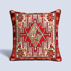 Handwoven Vintage Kilim Red White Square Cushion