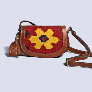Handwoven Kilim Leather Brown Boho Crossbody Bag