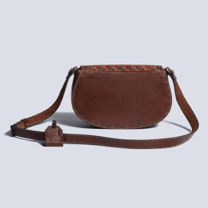 Handwoven Kilim Leather Brown Boho Crossbody Bag Back
