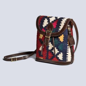 Handwoven Kilim Vintage Leather Brown Bucket Crossbody Bag