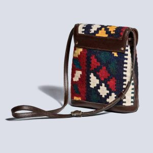 Handwoven Kilim Vintage Leather Brown Bucket Crossbody Bag Back