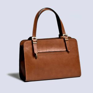Handwoven Leather Handstich Brown Tote Bag Back