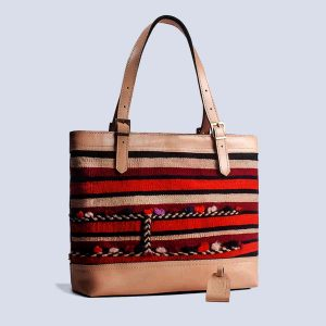 Handmade Vintage Kilim Leather Bisque Tote Bag