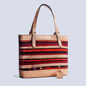 Handmade Vintage Kilim Leather Bisque Tote Bag Back