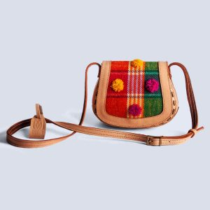 Handwoven Kilim Red Embossed Flower Leather Bisque Crossbody Bag