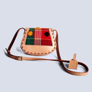 Handwoven Kilim Red Embossed Flower Leather Bisque Crossbody Bag Back