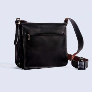 Handwoven Leather Black Satchel Bag Back