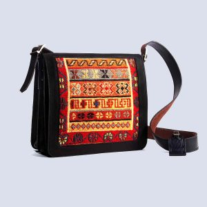 Handwoven Persian Kilim Leather Black Satchel Bag