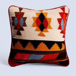 Handwoven Vintage Kilim Background Bisque Square Cushion