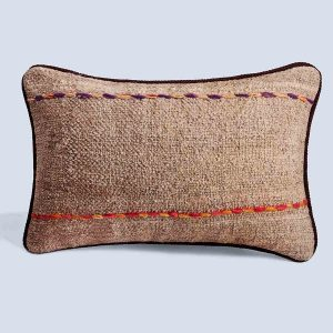 Handwoven Vintage Kilim Khaki Rectangular Cushion