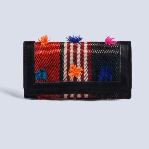 Handwoven Vintage Kilim Leather Black Trifold Wallet