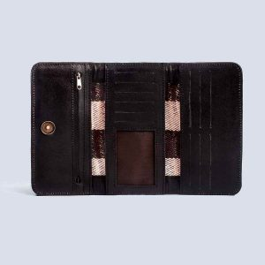 Handwoven Vintage Kilim Leather Black Trifold Wallet Inside