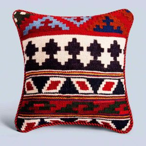 Handwoven Vintage Kilim Navy Square Cushion