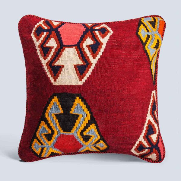 Handwoven Vintage Kilim Red Square Cushion Hexagons