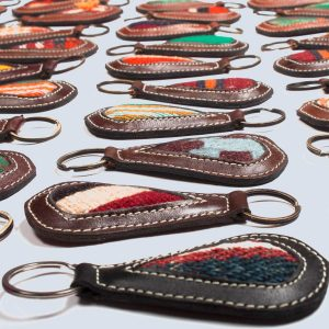 Handwoven Vintage Kilim Leather Keyring