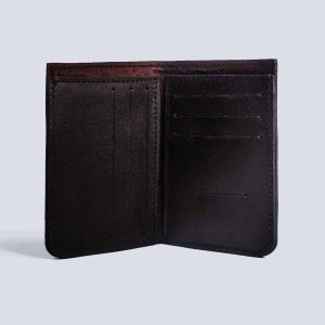 Handwoven Leather Black Wallet Inside