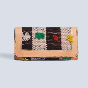 Handwoven Vintage Kilim Leather Bisque Trifold Wallet
