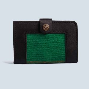 Handwoven Vintage Kilim Green Leather Black Wallet