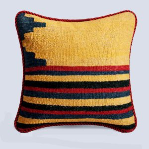 Handwoven Vintage Kilim Yellow Square Stripe Red Cushion