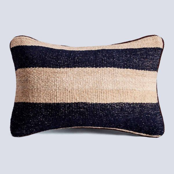Handwoven Vintage Kilim Khaki Black Rectangular Stripe Cushion