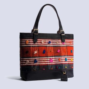 Handmade Vintage Kilim Leather Black Tote Bag