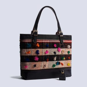 Handmade Vintage Kilim Leather Black Tote Bag Back
