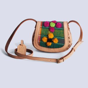 Handwoven Kilim Green Embossed Flower Leather Bisque Crossbody Bag