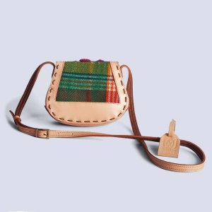 Handwoven Kilim Green Embossed Flower Leather Bisque Crossbody Bag Back