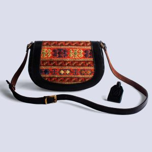 Handwoven Kilim Leather Black Boho Crossbody Bag
