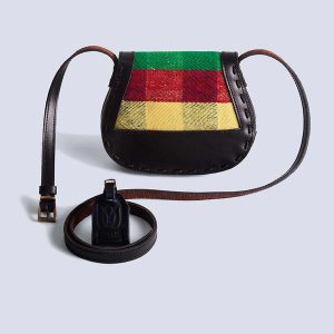 Handwoven Kilim Leather Black Boho Crossbody Bag Back