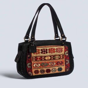 Handwoven Kilim Leather Handstich Black Tote Bag Back
