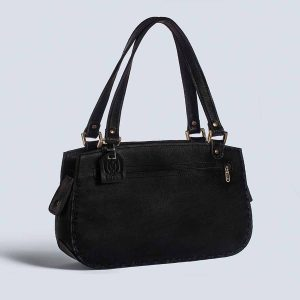 Handwoven Leather Handstich Black Tote Bag Back