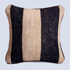 Handwoven Vintage Kilim Khaki Black Square Stripe Cushion