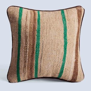Handwoven Vintage Kilim Khaki Green Square Stripe Cushion