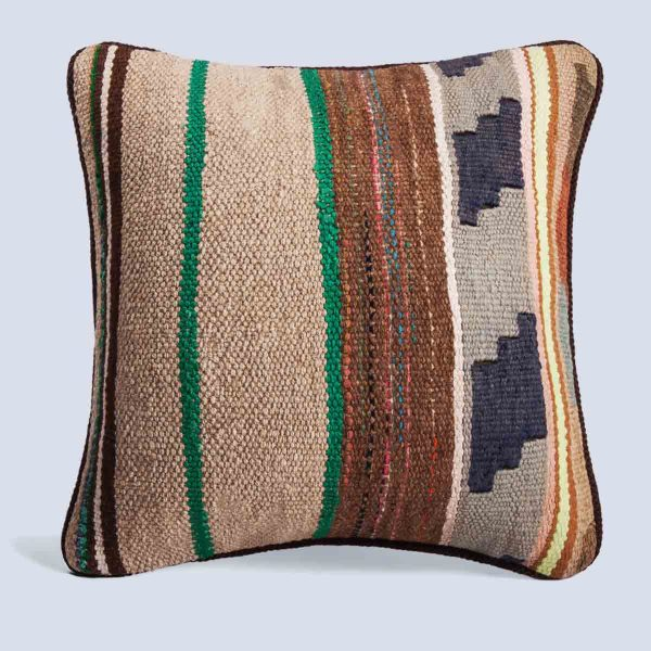 Handwoven Vintage Kilim Khaki Square Stripe Green Cushion