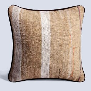 Handwoven Vintage Kilim Khaki Square Stripe White Cushion