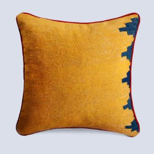 Handwoven Vintage Kilim Yellow Square Cushion