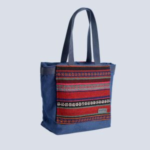 Fabric Cotton Kilim Expandable Navy Tote Shopping bag
