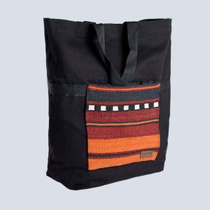 Fabric Cotton Kilim Expandable Navy Tote Shopping bag Back
