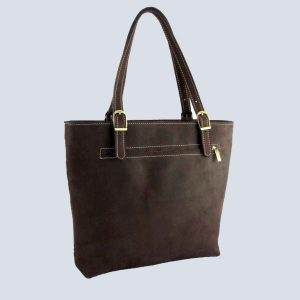 Handmade Suede Brown Zipper pocket Tote Bag Back