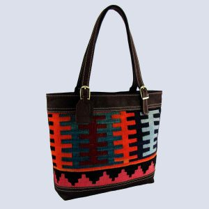 Handmade Vintage Kilim Suede Dark Brown Tote Bag