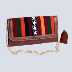 Handwoven Afghan Kilim Leather Brown Clutch Boho Chain