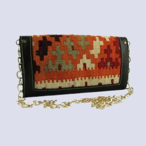 Handwoven Kilim Leather Green Chain Clutch Bag
