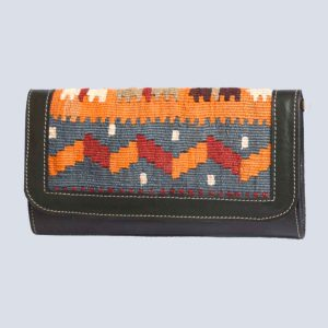 Handwoven Kilim Leather Green Clutch Bag