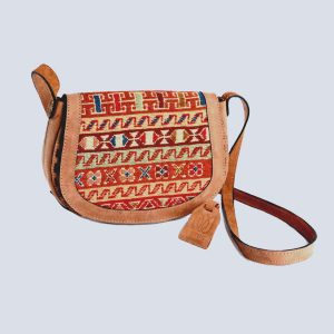 Handwoven Kilim Suede Bisque Crossbody Bag