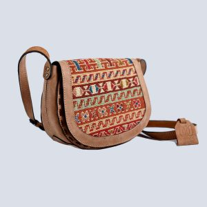 Handwoven Kilim Suede Bisque Crossbody Bag Side