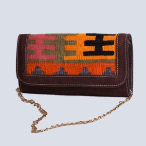 Handwoven Kilim Suede Brown Chain Clutch Bag